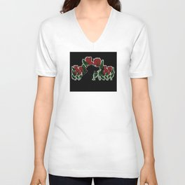 Black Lab In A Flower Garden Unisex V-Neck