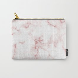 Pink Rose Gold Marble Natural Stone Gold Metallic Veining White Quartz Carry-All Pouch