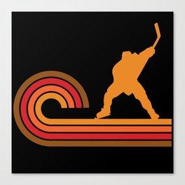 Retro Style Slap Shot Silhouette Hockey Canvas Print