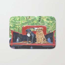 Antique Truck with Dogs Bath Mat