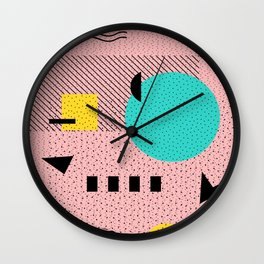 Hello Memphis Peach Berry Wall Clock