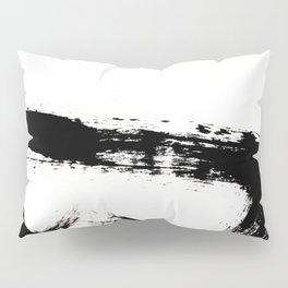Brushstroke [8] - a simple, abstract, black and white india ink piece Pillow Sham