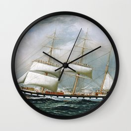 Vintage Sailboat Rolling up Sails Illustration (1904) Wall Clock