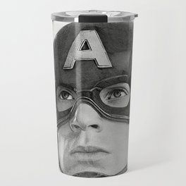 Portrait Drawing of Capt. America Travel Mug