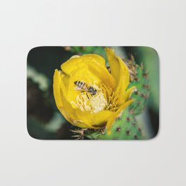 Wasp in Barbary fig flower Bath Mat