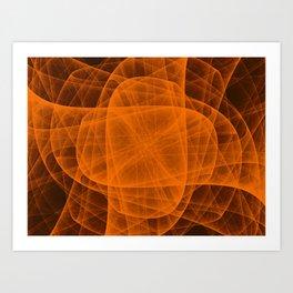 Fractal Eternal Rounded Cross in Orange-Brown Art Print