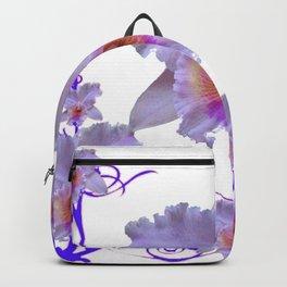 WHITE CATTLEYA ORCHIDS & PURPLE  ART Backpack