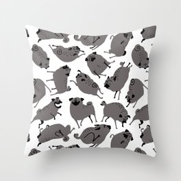 Peppy Black Pug pattern - black and white Throw Pillow