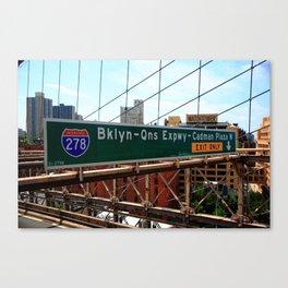 Brooklyn Bridge Road Signs 2009 Canvas Print