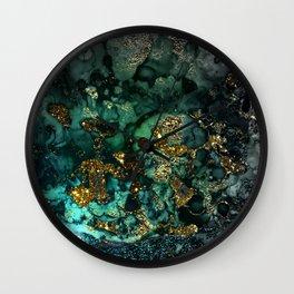 Gold Indigo Malachite Marble Wall Clock