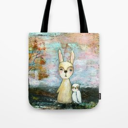 My Best Friend, Rabbit Owl Painting Tote Bag