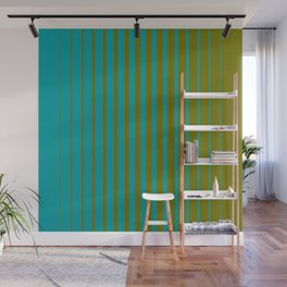 gradient stripes aqua olive Wall Mural