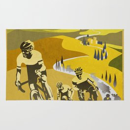 Strade Bianche retro cycling classic art Rug