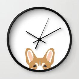 Welsh corgi peeking head corgis dog breed cute pet gifts Wall Clock