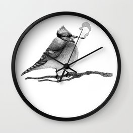 Blue Jay Smoking a Joint Wall Clock