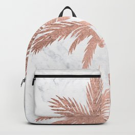 Tropical simple rose gold palm trees white marble Backpack