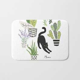 Black cat and plants in the pots. Morning stretch Bath Mat