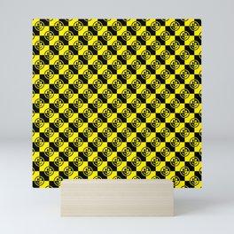 Yellow and Black Smiley Face Check Mini Art Print