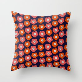Polka Flowers Throw Pillow