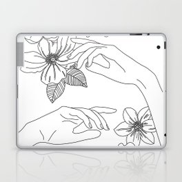 Hands and flowers line drawing illustration - Isabel Laptop & iPad Skin