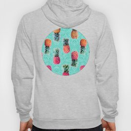 From Pineapple to Pink - tropical doodle pattern on mint Hoody