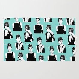 Audrey Hepburn, Breakfast at Tiffany's, Minimal, Pattern, Modern art Rug