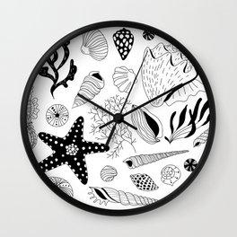 Tropical underwater creatures and seaweeds Wall Clock