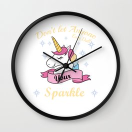 Unicorn Gift Don't Let Anyone Dull Your Sparkle Motivation Anti Bully Wall Clock