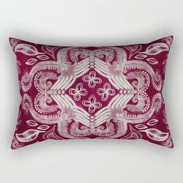 Dark cherry red dirty denim textured boho pattern Rectangular Pillow