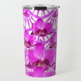 PURPLE ART DECO PATTERN ORCHIDS PATTERN ABSTRACT Travel Mug