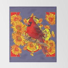 GOLDEN SUNFLOWERS RED CARDINAL GREY ART Throw Blanket