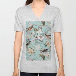 Vintage & Shabby Chic - Teal Tropical Bird Garden I Unisex V-Neck