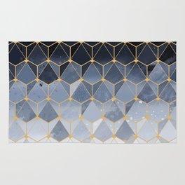 Blue gold hexagonal pattern Rug