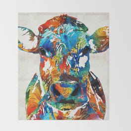 Colorful Cow Art - Mootown - By Sharon Cummings Throw Blanket