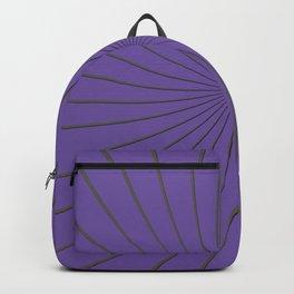 3D Purple and Gray Thin Striped Circle Pinwheel Digital Illustration - Artwork Backpack