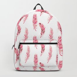 Watercolour Feathers - Coral, Blush and Rose Gold Backpack