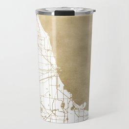 Chicago Gold and White Map Travel Mug