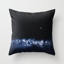 Contrail moon on a night sky Throw Pillow