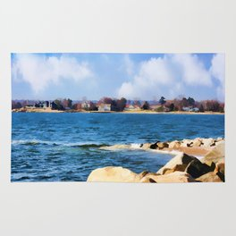 New England Shoreline - Painterly Rug