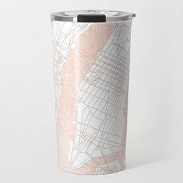 New York City White on Rosegold Street Map Travel Mug
