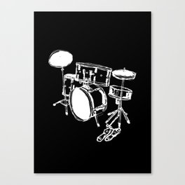 Drum Kit Rock Black White Canvas Print