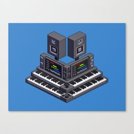 Electronic music altar — isometric pixel art Canvas Print