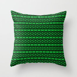 Dividers 02 in Green over Black Throw Pillow