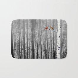 Red Cardinals in Birch Forest A128 Bath Mat