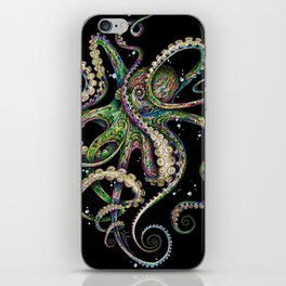 Octopsychedelia (black) iPhone Skin