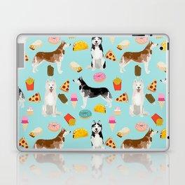 Husky siberian huskies junk food cute dog art sweet treat dogs pet portrait pattern Laptop & iPad Skin
