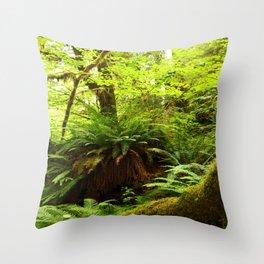 Rainforest Ferns Throw Pillow