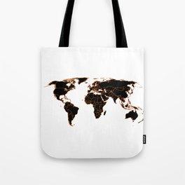 Black wolrd map Tote Bag
