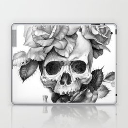 Black and white Skull and Roses Laptop & iPad Skin