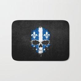 Flag of Quebec on a Chaotic Splatter Skull Bath Mat